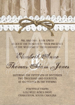 This Custom Wedding Invitation Is Perfect For Your Vintage Or Rustic Themed Features A Burlap Look Background With Stripe Of Barn